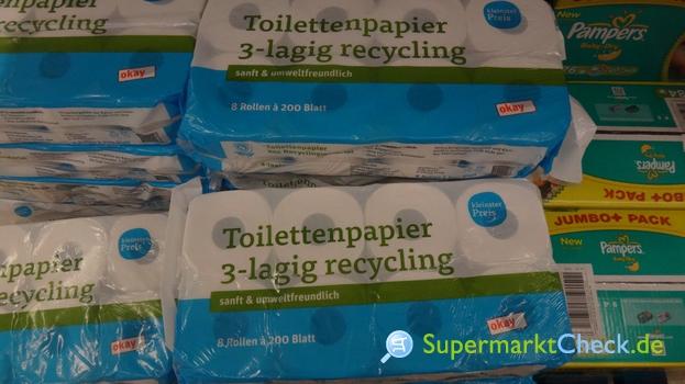 Foto von kleinster Preis / tegut Toilettenpapier 3-lagig Recycling