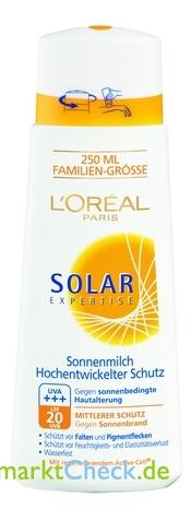 Foto von L Oreal Solar Expertise Sonnenmilch